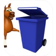horse cartoon character with dustbin