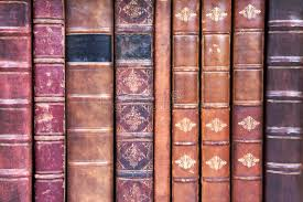 old leather bound book spines stock image image of nine collection 9864979