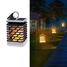 Quace Solar Lights Quace Waterproof Auto On Off Flickering Solar Powered Flame Hanging Decorative Atmosphere Lamp Yellow