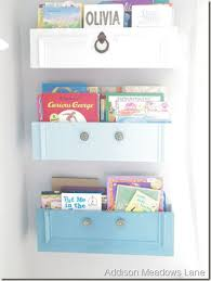 book cubbies made from repurposed drawers
