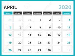 Planner 2020 Template Desk Calendar Layout Size 8 X 6 Inch April 2020 Calendar Template
