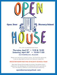 open house door. PRESCHOOL OPEN HOUSE   Open Door Nursery School House A