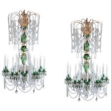 magnificent 21st century pair of 2m green crystal gold chandeliers