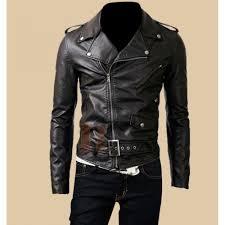 mens belted rider biker black leather jacket slim fit jackets
