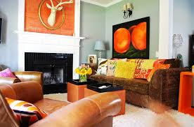 eclectic living room in orange and black design judith balis interiors