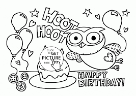01354ba3eb8ea03d786ee2c83ebf1396 funny owl on the birthday card coloring page for kids, holiday on birthday coloring card