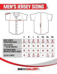 Baseball Jersey Size Chart Sneakgallery Com
