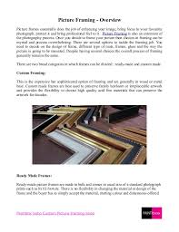 Types of picture framing Canvas Slideshare Overview For Types Of Picture Framing