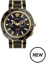 versace watches jewellery for men shopstyle uk versace extreme pro black multi dial two tone bracelet mens watch