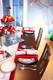 red silver table setting