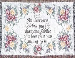 jubilee celebrations 60th wedding anniversary sofa throw 60th made in usa