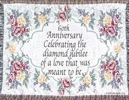 60th wedding anniversary sofa throw 60th anniversary gift made in usa