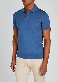 J Lindeberg Ridge Blue Fine Knit Cotton Blend Polo Shirt