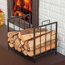 fireplace log holder with firewood baskets indoors and brown ceramic floor also white wall for modern