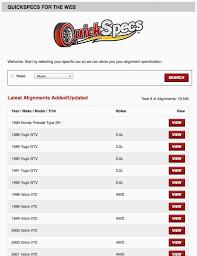 Quickspecs Wheel Alignment Specifications Quicktrick
