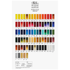 Fw Inks Colour Chart Winsor Newton Hand Painted Professional Acrylic Colour Chart