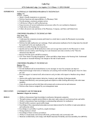 Pharmacy Technician Resume Sample Certified Pharmacy Technician Resume Samples Velvet Jobs 13