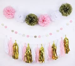 White Paper Flower Garland Baby Shower Party Decoration Gold Pink White Paper Flowers Home