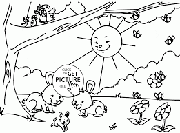Happy Spring In Forest Coloring Page