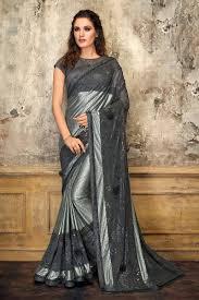 Grey Color Designer Blouse Grey Color Lycra Designer Embroidered Saree With Blouse