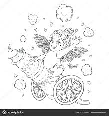 Valentine Day Funny Cupid Girl Riding Cannon Firing Hearts Vector