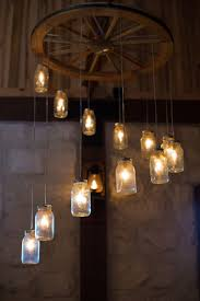 Alternating Wagon Wheel Mason Jar Chandelier Large