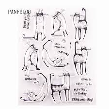 PANFELOU <b>cat</b> in the New Year <b>Transparent Clear Silicone</b> Stamp ...