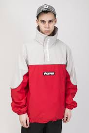 Space Pull Windbreaker <b>Gray</b>/<b>Red</b>