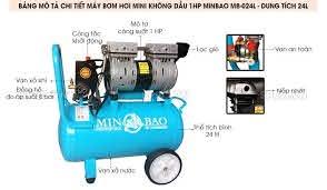 Máy bơm hơi mini không dầu 1HP Minbao MB-024L bình chứa 24L