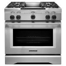 Professional Ovens For Home Kitchenaid Commercial Style 36 In 51 Cu Ft Slide In Dual Fuel