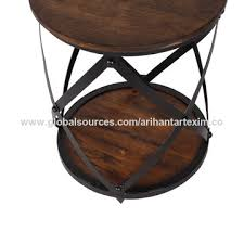 india industrial and vintage antique round stackable wood and metal base side end table side table