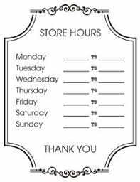 Free Printable Store Hours Sign Creative Center