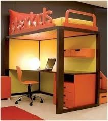 Loft bed with desk on top 2