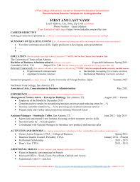 Undergraduate College Resume Template Sample Resume Utsa College Of Business Undergraduate File