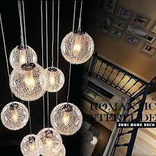 round glass pendant light modern large long stair round ball chandeliers lights living room glass pendant round glass pendant light