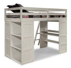 White Wooden Loft Bed With Desk And Storage For Teenage Girls of ...