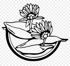 water black and white free vector graphic flowers black water lily clip art 184337