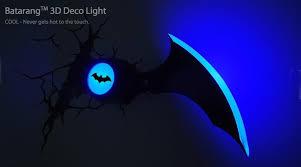 batman batarang 3d deco light boomerang wall night led lamp for kids