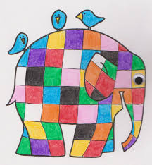 the cover of our book made a copy colored it in with crayons and then added a little plastic eye for fun elmer the patchwork elephant coloring page