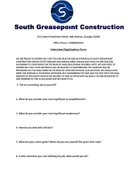 south greasepoint interview and application form construction south greasepoint interview and application form construction telephone