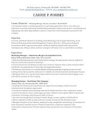 Resume Objective Sample Marketing Sales For Resume Objective For