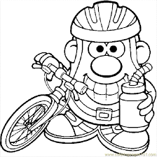 Small Picture Mr Potato With A Bike Coloring Page Free Bikes Coloring Pages