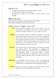 Magazine Article Format Template Writing A Magazine Article