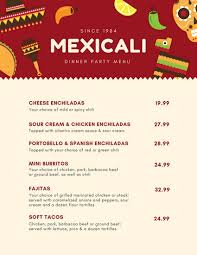 Party Menu Mexican Icons Red Cream Dinner Party Menu Templates By Canva