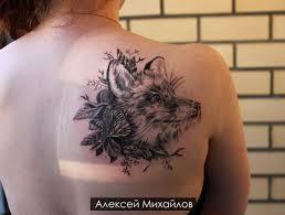 татуировка на лопатке у девушки лиса фото рисунки эскизы