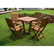 international caravan royal tahiti gibraltar 5 pc outdoor wood patio dining