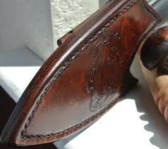 custom made leather knife sheath horizontal back mounted