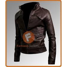 slim fit strap dark brown leather jacket men s leather jacket for