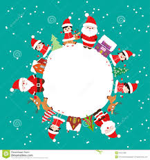 Merry Christmas With Kids And Element On Earth Stock Vector