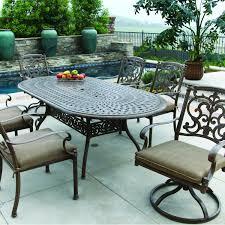 Amazon com darlee santa barbara 7 piece cast aluminum patio dining set with oval table antique bronze garden outdoor